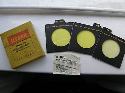 3 VINTAGE ILFORD FILTERS for MULTIGRADE PAPER BOXED FREE UK POST
