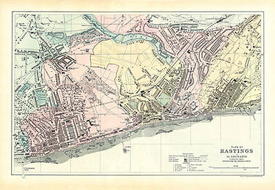 Old Hastings Map - Professionally Restored 1899 Map - Modern Print - 1066online