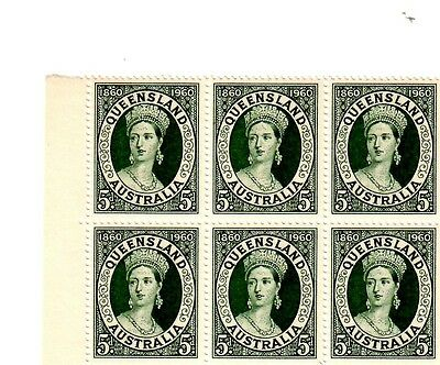 1860 to 1960 QLD 5 Pence Green MNH Block of SIX stamps