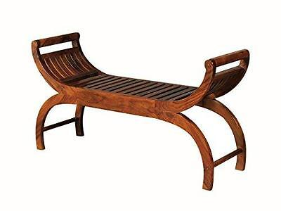 Sheesham Indian Rosewood Large Chaises Longues -  Large Curved Slatted Stool