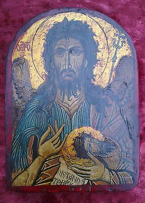 Old Unique Byzantine  hand painted ortodox icon of St. John the Baptist
