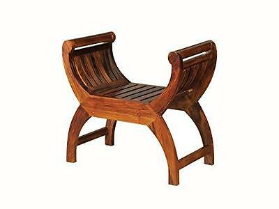 Sheesham Indian Rosewood Chaises Longues - Thakat Curved Slatted Stool