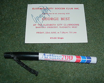 Chewed Pen Used By George Best To Sign Autograph 1989 - Rare One Off Item