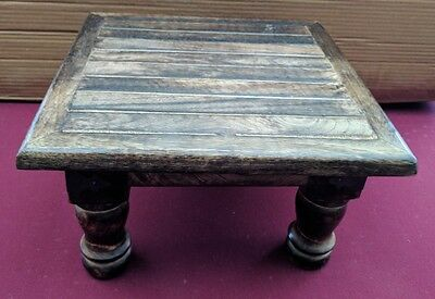 Sturdy Mango Wood Foot Stool Hand Carved wooden Indian Square Stool