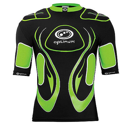 Optimum Inferno Adult  Rugby Protection Top, Black/green - Size Medium.