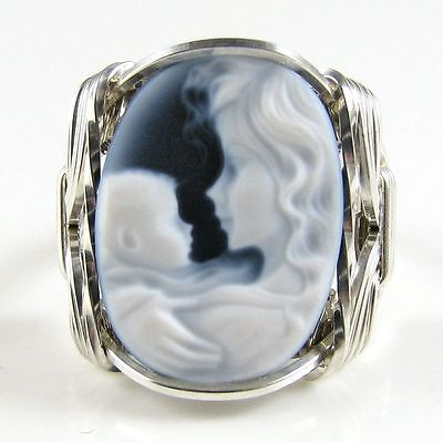 Mom Babe Black Agate Oval Stone Cameo Ring .925 Sterling Silver Jewelry Any Size