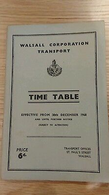 Walsall Corporation/Harper Brothers bus timetable booklet 30 December 1968