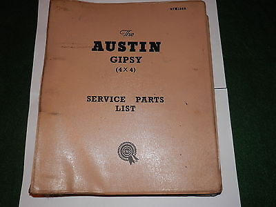 AUSTIN GIPSY service parts catalogue issued 1960