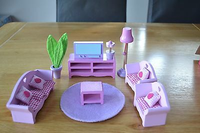 ELC Early Learning Centre living room wooden dolls house furniture