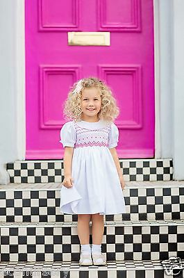 "Aurora Royal Baby Girls ""augusta""white Cotton Hand Smocked Dress"
