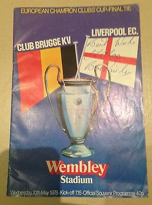 1978 Bob Paisley Signed Liverpool FC V Club Brugge Euro Cup Final