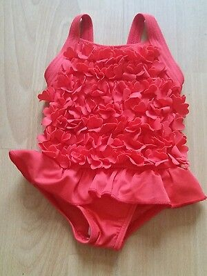 nwot baby girls m&s very pretty red swimsuit costume flowerly front 3/6 mths g.c