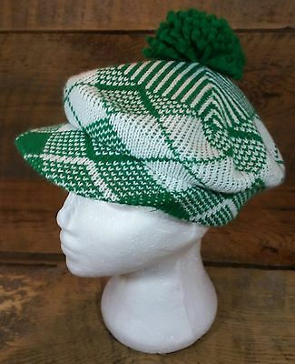 Vintage Green & White Knit Cap Hat Beret Newsboy Bill Pom-Pom Tam Irish Hipster