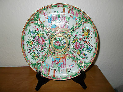 18/19 C Antique 9' Chinese Cantonese Hand Painted Porcelain Famille Verte Plate.