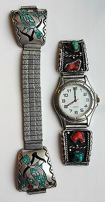 Vtg Native American Sterling Silver Turquoise Coral Cab Chip Watch Tips Blue Jay