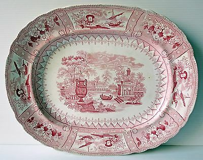 "Antique T. Mayer ""CANOVA"" RED STAFFORDSHIRE PLATTER, 1800's"