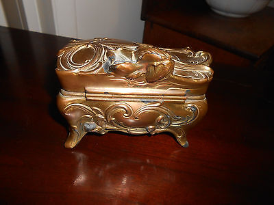 Antique Victorian WB Mfg Co Gilded Metal Casket Jewelry Box #351 with Liner