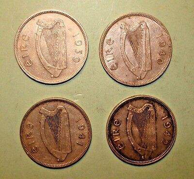 Ireland Shilling Silver Four Coin Lot 1939 1940 1941 1942