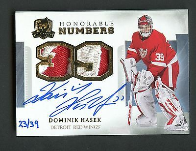 2013-14 The Cup Honorable Numbers Dominik Hasek Dual Patch AUTO 23/39