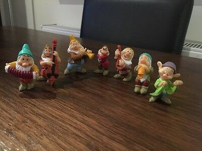 Disney Parks Collection Of Snow Whites 7 Dwarves Toy Figures Dopey Doc Bashful