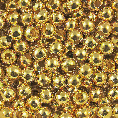 100pcs 4mm Gold Metal Round Spacer Beads Jewelry Fingding Craft DIY Charms