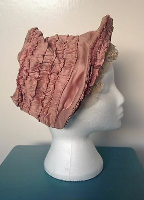 Antique pink silk bonnet with lace mid 19th century Victorian good condition