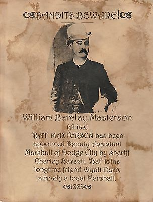Bat Masterson!~(I Combine Shipping)~Old West,wanted,poster,marshall
