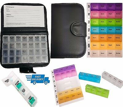 Weekly Travel Dispenser 7 Day Pill Wallet Box Medicine Tablet Organiser Storage