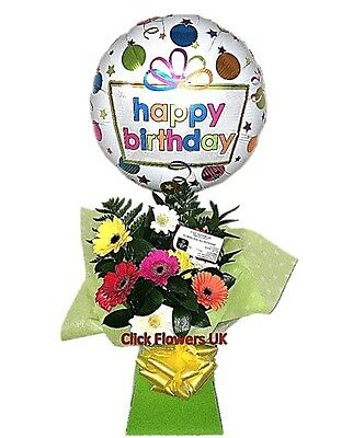 FRESH REAL FLOWERS Delivered Gerbera Selection Free Balloon & Delivery