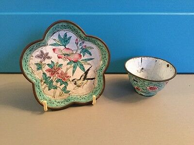Antique vintage Chinese Enamel bowl and dish