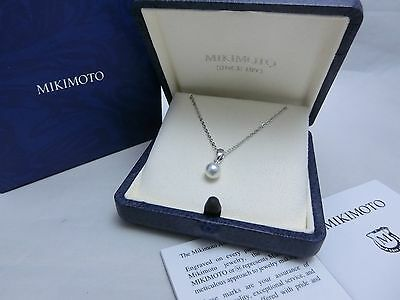 New! Mikimoto Pearl Sterling Silver Single 6mm Akoya Pearl Pendant Gift Wrap #1