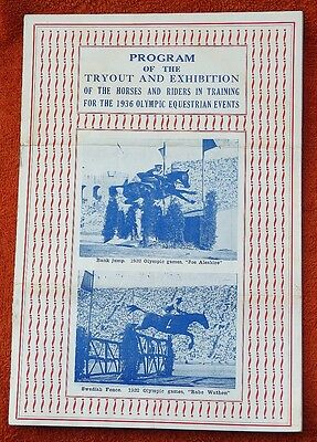 Original 1936 Olympics Equestrian Tryout & Exhibition Program - Horses & Riders