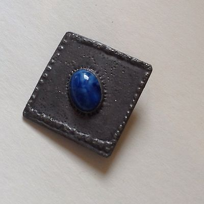 Arts & Crafts Brooch With Blue Glass Stone