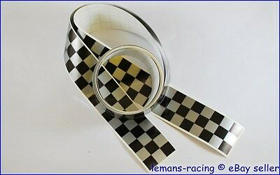 CAFE RACER Silver/Black Chequered Stripes Stickers Decals Tape 1260x30mm 2 pcs