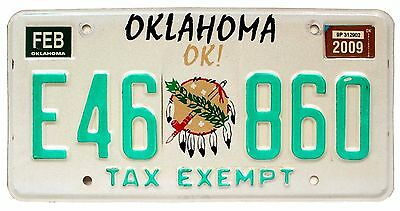 Oklahoma is OK February 2009 TAX EXEMPT License Plate