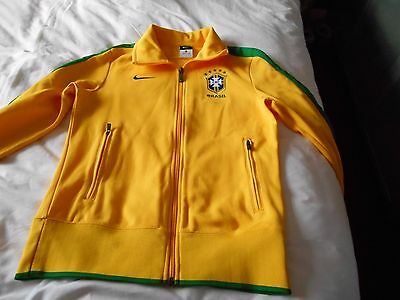 NIKE BRASIL BRAZIL Official Yellow Soccer Zip Up Track Top Jacket size Med
