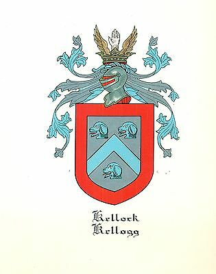 *Coat of Arms Kellock/Kellogg Family Crest genealogy, would look great framed!