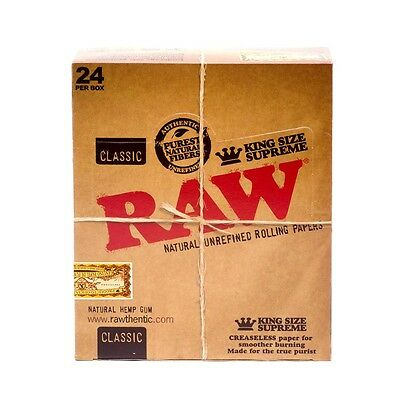 RAW Classic King Size Supreme Cigarette Rolling Paper, 1 Box 24 Packs