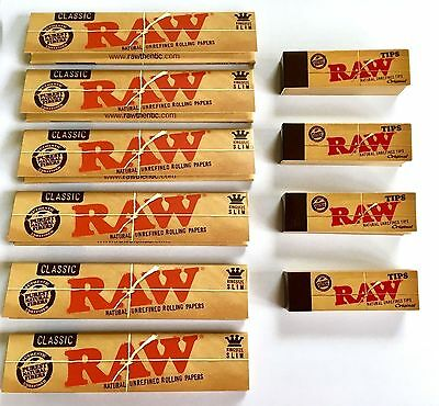Raw King Size Slim Rolling Papers 6 Booklets & 4 Raw Roach Tips Combo