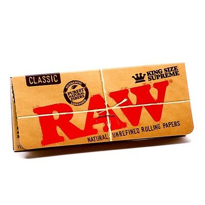 RAW Classic King Size Supreme Cigarette Rolling Papers - 6 Packs