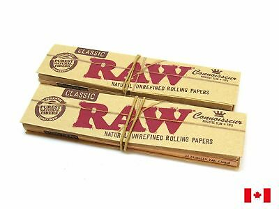 RAW Connoisseur King Size Slim + Tips Natural Unrefined Rolling Papers - 2 Packs