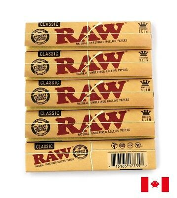 RAW CLASSIC King Size Slim UNREFINED Natural rolling paper X 5 booklets