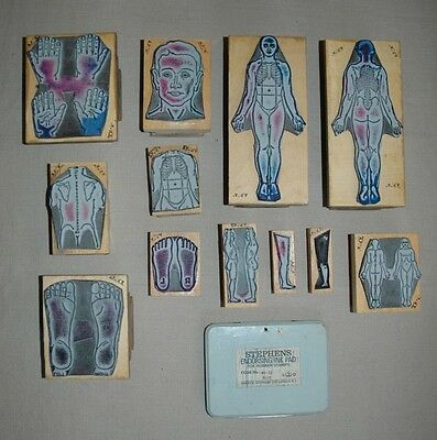 Job lots 12 Vintage human face and body parts rubber stamps Good quality