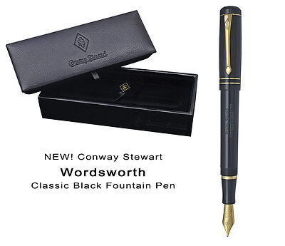 Conway Stewart Wordsworth Classic Black Fountain Pen Medium - Mint