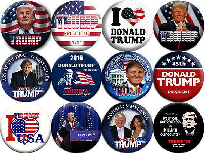 President DONALD TRUMP - 12 buttons pins badges (1.5 inch - 38 mm)