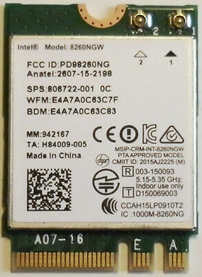 Intel Wireless Dual Band AC 8260NGW 867Mbps WIFI Card Bluetooth 4.2 (806722-001)
