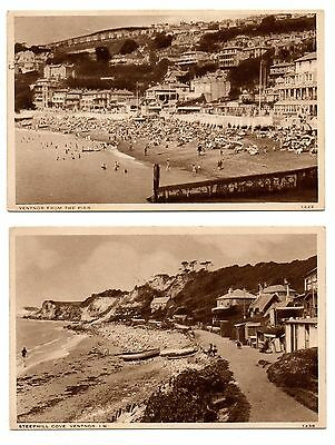 1934 Postcards (2) Ventnor, Isle Of Wight From The Pier & Steephill Cove