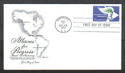 Us Fdc 1963 Alliance For Progress 5C Stamp Artmaster First Day Of Issue Cover