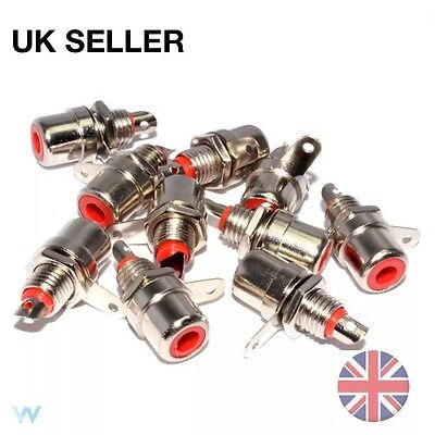 10x RCA Phono Chassis Panel Mount Female Input Socket Connector Terminal Red
