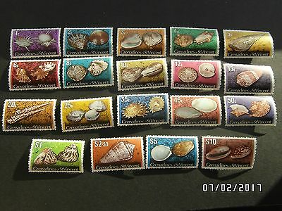 GRENADINES of ST VINCENT STAMPS - SHELLS - 1c to $10 - 1974 - MNH - 99p START.